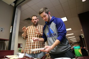 Sophomore Nick Yoder  and new RD Brent talks about the pizza that they are making.