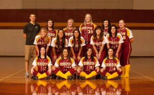 The softball team, coached by Andrew Sharp. Photo by Larry Bartel, Hesston College Marketing and Communications