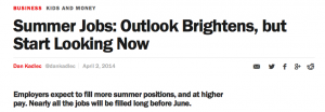 An April 2 Time Magazine article reports on a boosted economy and the resulting job outlook for the summer.