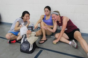 Masayo Satoh, Misaki Hirayama and Megan Baumgartner discover that with great competition comes sprained ankles.
