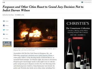 The New York Times coverage of the Darren Wilson trial. Screenshot from nytimes.com