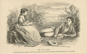"""Illustration from """"Little Women"""" by May Alcott (artist), Louisa May Alcott (book author) [Public domain], via Wikimedia Commons"""