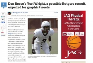 Yuri Wright's inappropriate tweets put his future in jeopardy, a scandal reported on widely in 2012 sports media, including this article from NJ.com.