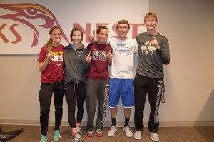 Winners of CAB's Minute to Win it games. (left to right): Christy Kauffman, Ally Vogt, Abby Byler, Trevor Oyer, and Riley Kingsley. Photo by Meredith Spicher