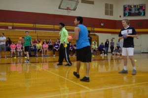 Steph Swartzendruber, Grant Gullett, Abraham Mateo, and Micah Boyer playing Dodgeball. Photo by Meredith Spicher