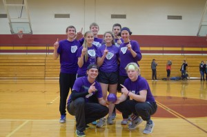 The winning team of the dodgeball tournament. (top row, left to right): Trevor Oyer, Riley Kingsley, Peyton Miller; (middle row): Christy Kauffman, Christy Swartzendruber, Molly Bruner; (bottom row): Cole Sturgeon, Jordan Gesling Photo by Meredith Spicher