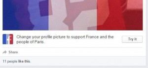 Many Facebook users chose to show their support in the wake of the Paris terrorist attacks by using the French flag photo filter, seen here. Source: npr.org