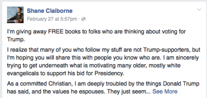 Shane Claiborne, last weekend's Anabaptist Vision and Discipleship Series speaker, posted this on his Facebook page.