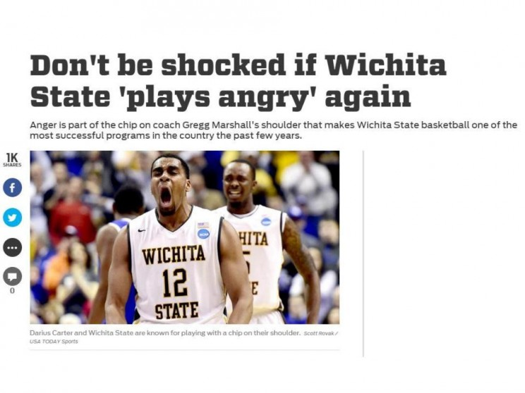 "Wichita State has gotten a lot of press from their ""Play Angry"" campaign, including this piece from Fox Sports."