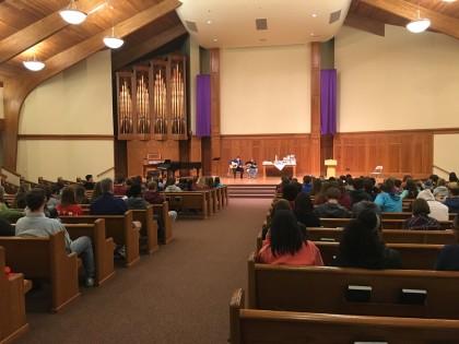 Thursday evening's prayer service at Hesston College Mennonite Church.