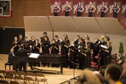 Bel Canto performs at the Sunday evening prayer service held at Hesston High School. Photo by Larry Bartel, Hesston College Marketing and Communications