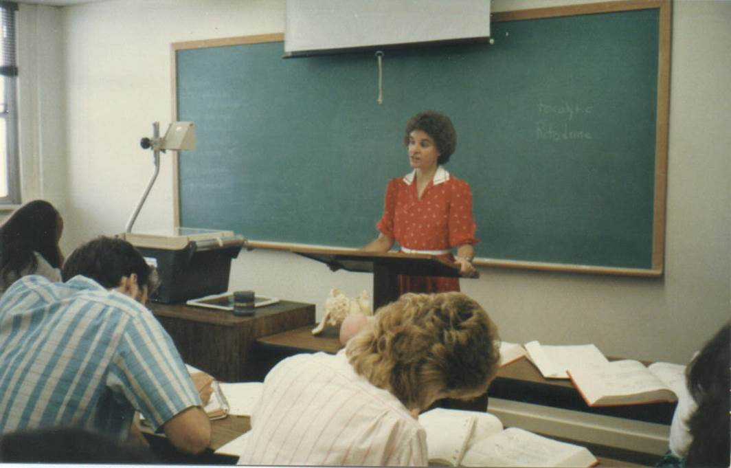 A young Joyce Huber instructs her class. Photo courtesy of the Hesston College Nursing Department.