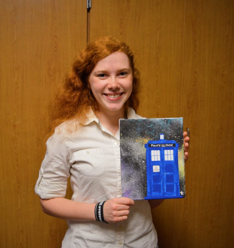 Emily Griffioen decorated her room with a painting of the Tardis that she created.
