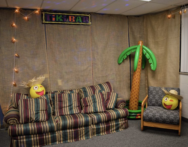 Jayden Banks (RA), and his mod have a striped couch in their lounge.