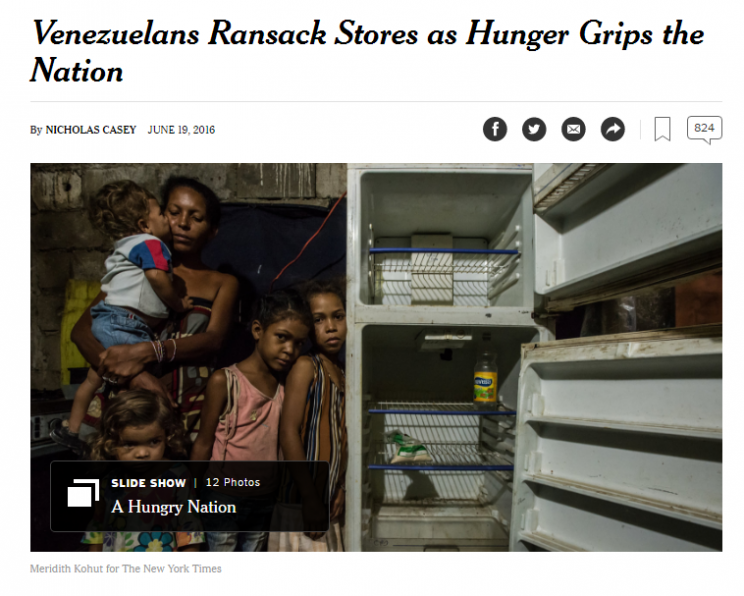 "In June, the New York times reported on the widespread food shortages in Venezuela, resulting in looting, crime and violence. ""Venezuela is convulsing from hunger,"" wrote reporter Nicholas Casey."