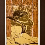 Boot Project by Kayla Stevenson. Woodcut
