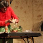 Music Professor, Ken Rodgers, dresses up as the famous Chief Julia Child, to give us a tutorial on how to make a Titanic Salad. This was Rodgers main act however he made another appearance at the end of the show to give thanks to everyone who helped and came out to watch.