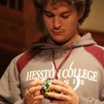Sophomore Kendrick Mast, attempts to solve an intense form of a Rubik's Cube, however, during his act the Rubik's Cube malfunctioned, causing him to stop the performance.