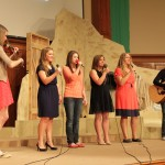 "Sophomores, Alyssa Becker, Rebbecca Rhodes, Morgan Martin, and Freshmen, Mary Bender, Taylor Zehr, Jordan Waidelich, also known as the Luminettes perform the song ""Ho Hey."" With Becker on the violin and Waidelich on the guitar, it added a nice touch to the four voices that ended the show. Rhodes, shared her experience on ending the show, she says, ""Even though it was a little nerve racking waiting till the end of the show to perform, it was exciting to be able to help close the show with something we worked hard on and were very proud of."""