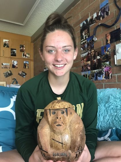 "Lexi Boone, FR (Colorado) - ""A monkey-shaped piggy bank. It is from my grandfather. He got it from Hawaii. Inside there are coins and the only way to take the inside is to break it."""