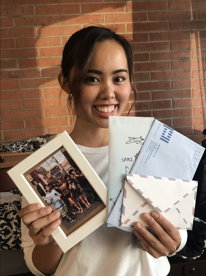 "Sari Nakazawa, SO (Japan)-"" Family picture and letters are two items that remind me the most of my family. Everytime I read this letter, I feel like I would cry. I miss home so much."""