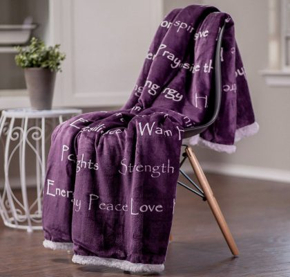 Blanket ($55.95): Cuddle up with the comforting words on this throw blanket.  This blanket is designed to warm you inside and out.